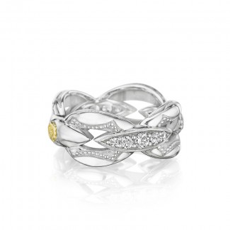 Pavé Bold Crescent Links Ring in Silver
