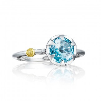 Petite Crescent Bezel Ring featuring Sky Blue Topaz
