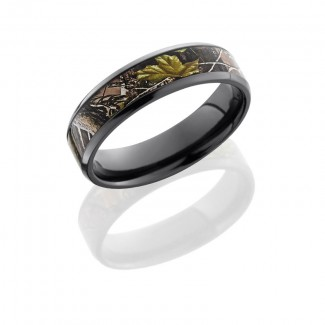 Lashbrook Zirconium 6mm Beveled Band With 4mm Real Tree Apg Pattern Z6B14(NS)/RTAPG