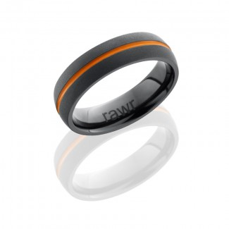 Lashbrook Zirconium 7mm Domed Band With 1mm Antiqued Groove Z7D11A