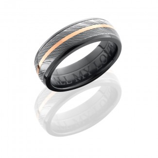 Lashbrook Zirconium 7mm Domed Band With 5mm Damascus And 1mm 14Kr Z7D15/DAMASCUS11/14KR