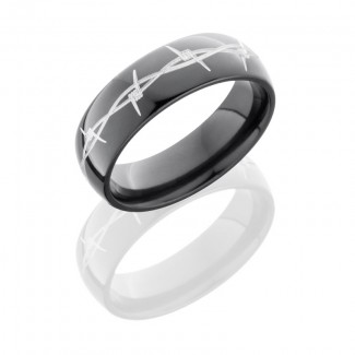 Lashbrook Zirconium 7mm Domed Band With Grooved Edges Z7D/BARB