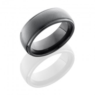 Lashbrook Zirconium 7mm Domed Band With Grooved Edges Z7DGE