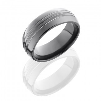 Lashbrook Zirconium 8mm Domed Band With Three .5mm Grooves Z8D3.5