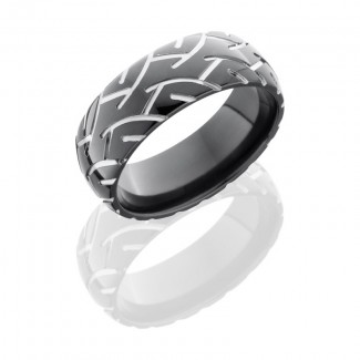Lashbrook Zirconium 8mm Domed Band With Tire Tread Pattern Z8D/CYCLE2