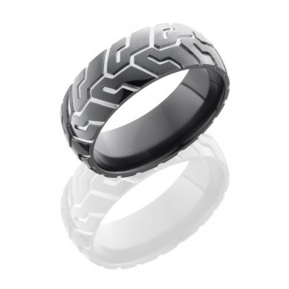 Lashbrook Zirconium 8mm Domed Band With Tire Tread Pattern Z8D/CYCLE41