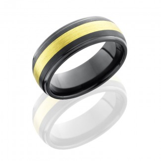 Lashbrook Zirconium 8mm Domed Band With Grooved Edges And 3mm 18Kg Z8DGE13/18KG