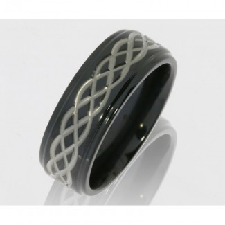 Lashbrook Zirconium 8mm Flat Band With Grooved Edges And Celtic Pattern Z8FGE/CELTIC6