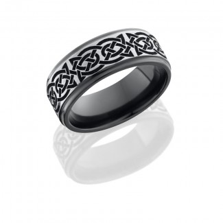 Lashbrook Zirconium 8mm Flat Band With Grooved Edges With Laser Carved Celtic 10 Pattern Z8FGE/BLCVC