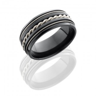Lashbrook Zirconium 9mm Domed Band With Milgrain And Sterling Silver Braid  Z9D2MILBRAID/SS