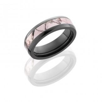 Lashbrook Zirconium 6mm Domed Band With 3mm Of Pink Realtree Ap Camo  ZCAMO6D13/PINKRTAP