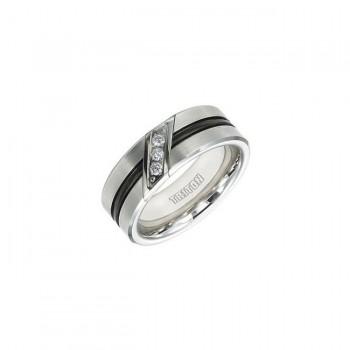 Triton Black And White Tungsten Carbide Men'S Band 22-4337