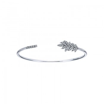 Gaby Bangle 925 Silver Nature Inspired White Sapphire