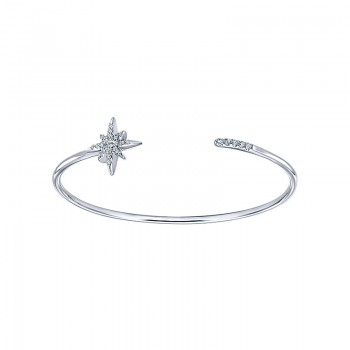Gaby Bangle 925 Silver White Sapphire Starburst