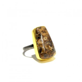 Trapezoid Fossil Agate Ring