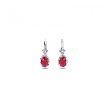 Gaby Earrings 14k White Gold Diamond And Ruby Drop