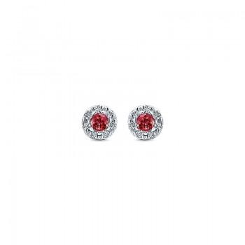 Gaby Earrings 14k White Gold Diamond And Ruby Stud