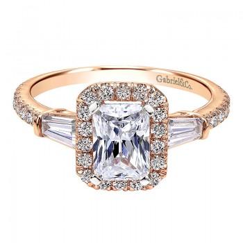 Engagement Ring 14k Pink Gold Diamond Halo
