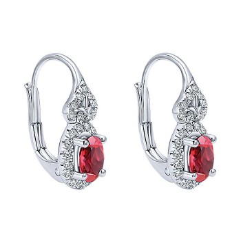 14k White Gold Diamond And Ruby Drop Earrings