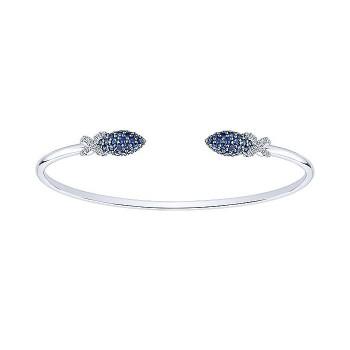 14k White Gold Diamond And Sapphire Bangle