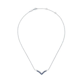 14k White Gold Diamond And Sapphire Bar Necklace