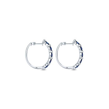 14k White Gold Diamond And Sapphire Classic Hoop Earrings