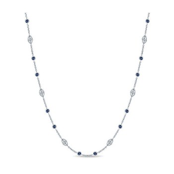 14k White Gold Diamond And Sapphire Diamond By The Yard Necklace