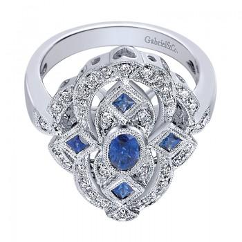 Ladies' Ring 14k White Gold Victorian Fashion