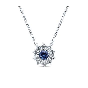 14k White Gold Diamond And Sapphire Fashion Necklace