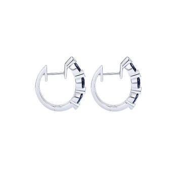 14k White Gold Diamond And Sapphire Huggie Earrings