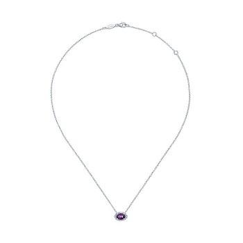 14k White Gold Diamond Amethyst Fashion Necklace