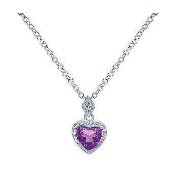 14k White Gold Diamond Amethyst Heart Necklace