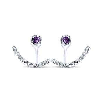 14k White Gold Diamond Amethyst Peek A Boo Earrings