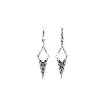 14k White Gold Diamond Black Mother Of Pearl Drop Earrings