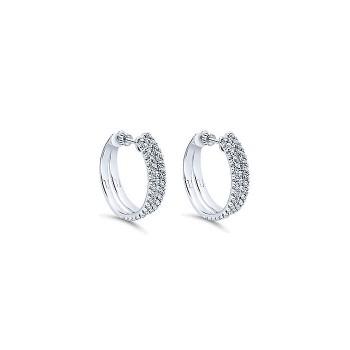 14k White Gold Diamond Classic Hoop Earrings