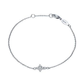 14k White Gold Diamond Cross Bracelet