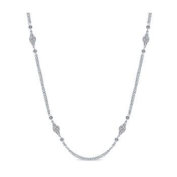 14k White Gold Diamond Diamond By The Yard Necklace