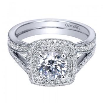 14K White Gold Diamond Double Halo 14K White Gold Engagement Ring ER8173W44Jj