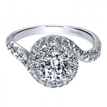 Engagement Ring 14k White Gold Diamond Double Halo