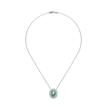 14k White Gold Diamond Green Amethyst Fashion Necklace