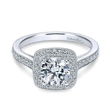 14K White Gold Diamond Halo Channel 14K White Gold Engagement Ring ER7525W44Jj