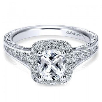 14K White Gold Diamond Halo Channel ANd Milgrain 14K White Gold Engagement Ring ER8793W44Jj