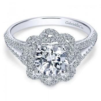 14K White Gold Diamond Halo 14K White Gold Engagement Ring ER7729W44Jj