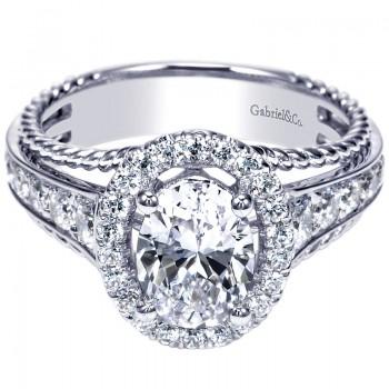 14K White Gold Diamond Halo 14K White Gold Engagement Ring ER8807W44Jj
