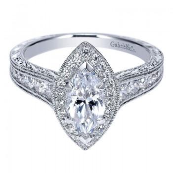 14K White Gold Diamond Halo 14K White Gold Engagement Ring ER8812W44Jj