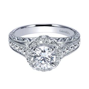14k White Gold Diamond Halo Engagement Ring ER8878W44JJ