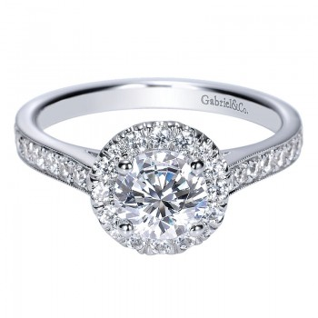 Engagement Ring 14k White Gold Diamond Halo