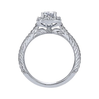 14k White Gold Diamond Halo Engagement Ring ER9524W44JJ