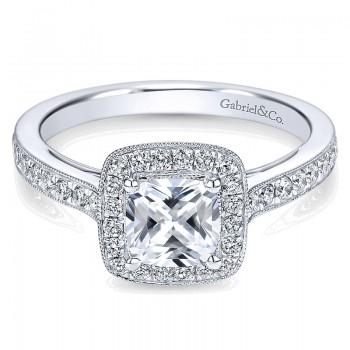 14K White Gold Diamond Halo With Channel Setting 14K White Gold Engagement Ring ER7527W44Jj