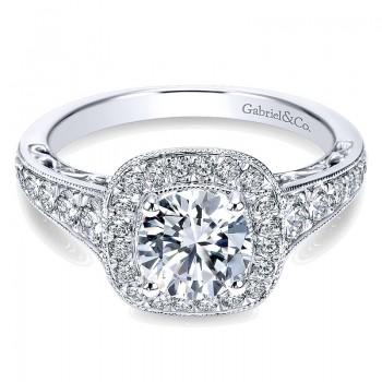 14K White Gold Diamond Halo ANd Channel Milgrain 14K White Gold Engagement Ring ER7293W44Jj